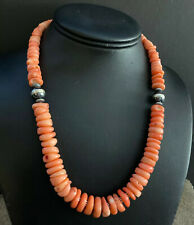Sterling Silver Pink Coral Bead Necklace. 18 inch