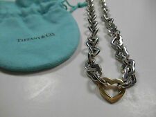 "Tiffany & Co. Sterling Silver & 18K Gold Heart Link Necklace Rare! 16"" Pouch Inc"