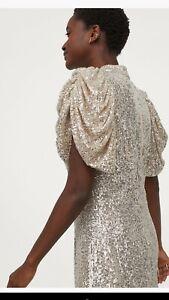 H&M Puff-sleeve Sequined Silver dress DRESS Sz Medium