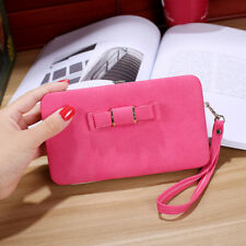 US Women Bowknot Wallet Long Purse Phone Card Holder Clutch Large Capacity Case