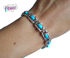 LADIES STRONG BIO MAGNETIC SILVER ALLOY HEALING BRACELET WITH TURQUOISE STONES
