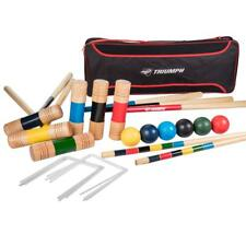 Durable Hard Wood Mallets All Pro 6 Player Croquet Set with Padded Shoulder Bag