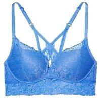 Nwt Victorias Secret PINK Wildflower Blue Lace Push Up Racerback Bralette Bra