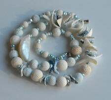 SPONGE WHITE & CHALCEDONY BLUE CORAL NECKLACE MOTHER OF PEARL & SHELL 87 GR 25''
