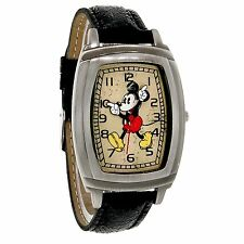 Disney Mickey Mouse Rectangular Antiqued Black Leather Band Quartz Watch MCK762