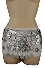 Women Ethnic Fashion Hip Belt Silver Metal Big Coin Charm Long Skirt Dance S M L