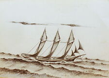 DISEGNO BOZZETTO DRAWING LAPIS SU CARTA 1900 VELIERO BARCA NAVE SHIP 08