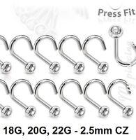 2pcs. 22g, 20g, 18g~2.5mm Press Fit Flat C Z Gem 316L Surgical Steel Nose Screw