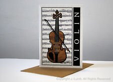 JCL Beautiful original stunning wood effect and cream Violin card gift birthday