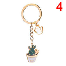 Enamel Potted Plant Cactus Pattern KeyRing Purse Keychain Pendant Accessories XM