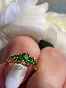 14K YELLOW GOLD FILIGREE EMERALD GREEN PAVE RING - SIZE 7 -  EXCELLENT!