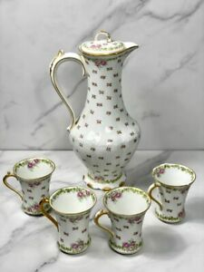 Limoges GDA France Chocolate Coffee Tea Pot and 4 Tea Cup, Roses & Gold