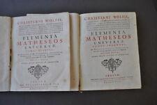 Fisica Wolf Elementa Matheseos Idraulica Meccanica Pendolo Orologi Militari 1738