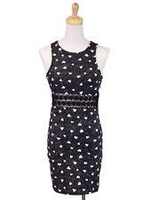En Creme Love Me Heart Printed Bodycon Crochet Waist Mineral Wash Tank Dress M