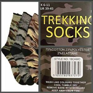 3,6,12 Pairs Men's Camouflage Trekking Socks Thick Chunky Walking Work Boot Sock