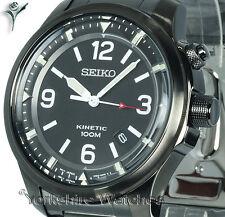 New SEIKO KINETIC BLACK DIAL With ION BLACK STAINLESS STEEL BRACELET SKA687P1