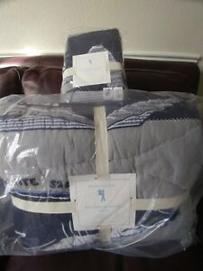 2p Pottery Barn Kids Patchwork Shark Twin Quilt Euro Sham set NEW Navy