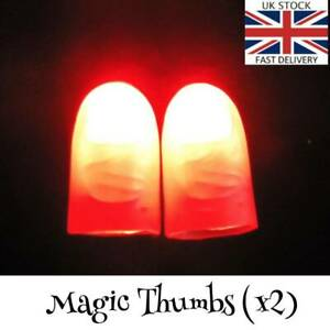 2x Magic Light Up Thumbs 'Appearing Light Trick' Close Up Prop Magic Fingers RED