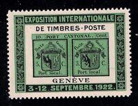 Geneva - 1922 International Philatelic Exposition Label - Mint/VF/XF95/NH