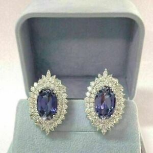 4 Carat Oval Blue Tanzanite Diamond Cluster Stud Earrings 14k White Gold Over