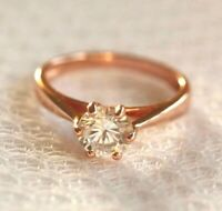 Rose gold plated 925 silver 1.25ct simulated diamond engagement ring women ring
