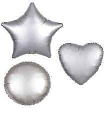 PLATINUM HEART STAR CIRCLE FOIL SATIN LUXE BALLOON DECORATOR BIRTHDAY BALLOONS