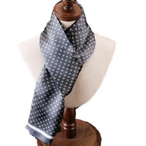 Men's 100% Mulberry Silk Scarf Double Layer Long Neckerchief Fashion 12Colors