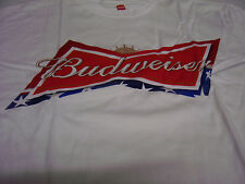 Budweiser King Of Beers White T Shirt Classic Stars Red Blue Logo Size M Adult