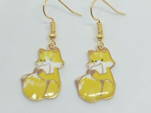 New Novelty Fox Enamel Charm Drop Dangle Earrings kawaii Animal