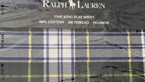 NIP *NEW RALPH LAUREN Dress Gordon Tartan Plaid King Flat Sheet New