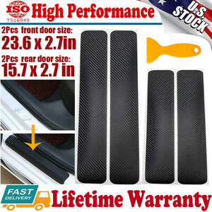 4pcs Car Accessories Door Sill Scuff Plate Pedal Protect Carbon Fiber Sticker