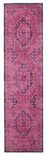 MEDALLION PINK NAVY VINTAGE PERSIAN LOOK RUG RUNNER 80x300cm **FREE DELIVERY**