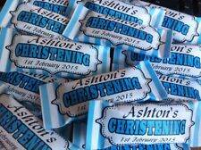 Personalised Sweets x 30 Christening Party Favour ANY COLOUR CANDY STRIPE DESIGN
