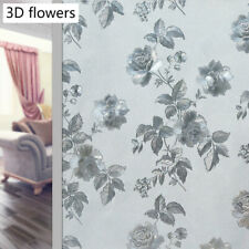 Static Frosted Glass Stickers No Glue Stained Flower Window Films Home Decor DIY