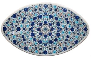 Lapis Lazuli Gemstone Inlaid Coffee Table Top Marble Center Table 30 x 48 Inches