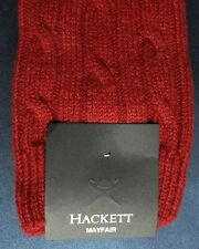 Hackett London Mens Scottish Socks 95% Cashmere Cable Red Med UK 7-9 HMU50260