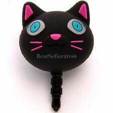 Cute Black Cat 3.5mm Earphone Jack Dustproof Plug Ear Dust Cap