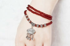 Women's Retro Red Agate Beaded Good Lock Bracelet Wedding Party Gift