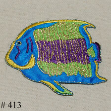 1PC ~BIG TROPLICAL ANGEL FISH~IRON ON EMBROIDERY PATCH