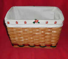 """Grand Basket Lined Edged with Christmas COUNTRY WOVEN COLLECTION Trim 12""""x 7.5"""""""