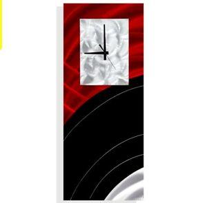 Metal Wall Clock  Modern Art Red/Black Abstract Home/Office Decor Jon Allen