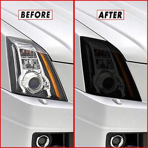 FOR 08-14 Cadillac CTS CTS-V Headlight SMOKE Precut Vinyl Tint Overlays