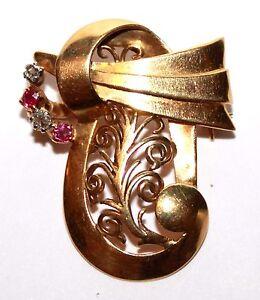 18 ct gold asymmetric ruby & diamond brooch 6.4 grams vintage Italian style