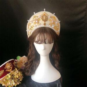 Baroque Women Tudor Renaissance Headpiece Royal French Hood Coronet Headwear