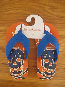 NWT Hanna Andersson blue orange Pirate FLIP FLOPS 9 10 striped sandal shoe NEW