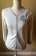HALOGEN By Nordstrom, 100% Cotton Striped Cardigan Sweater Size M