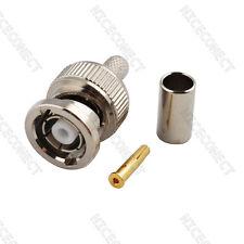 RP-BNC male plug (female pin) crimp RG58 RG142 LMR195 RG400 cable RF connector