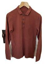 Mens All Saints Long Sleeve Polo Shirt Brown XS