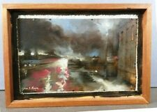 "DAVE MEYERS SIGNED  ""EVENING HEADLIGHTS"" CITYSCAPE OIL ON CANVAS FRAMED PAINTING"