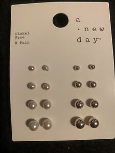 Women's Stud Earrings 8 Pairs (A New Day-Target Brand) Gold/Pearl Nickel Free